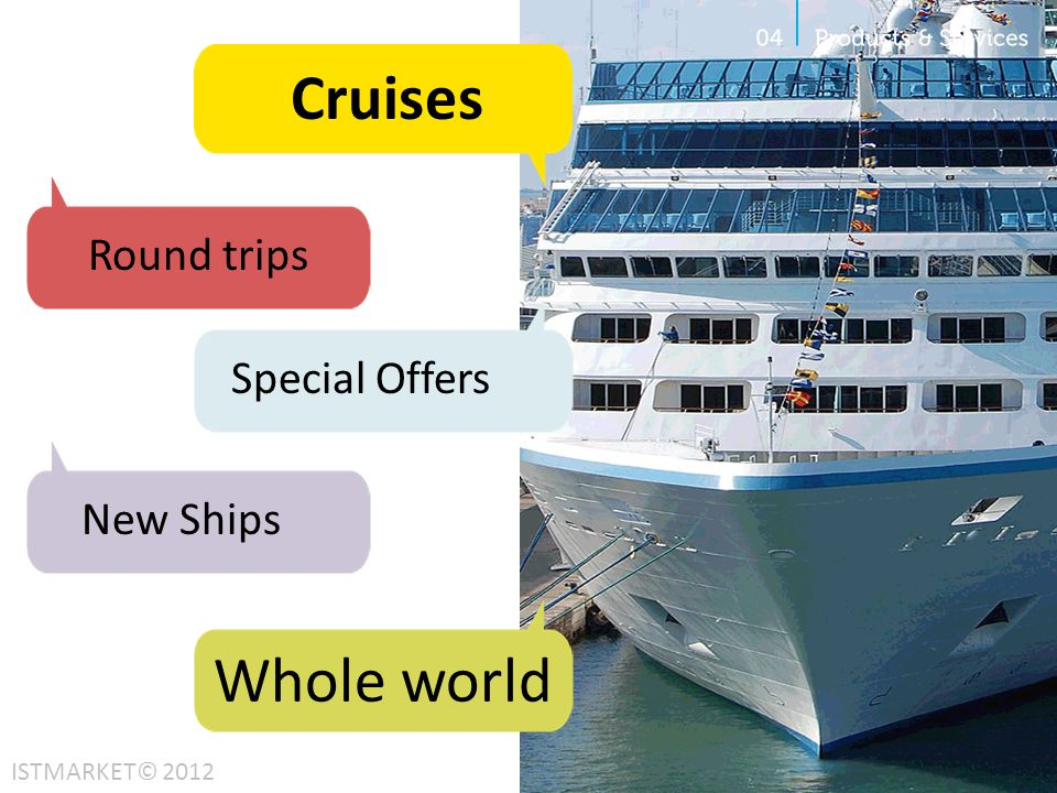 Cruises Round trips New Ships Whole world ISTMARKET© 2012 Special Offers