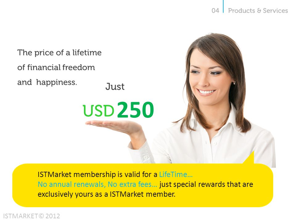 250 ISTMarket membership is valid for a LifeTime… No annual renewals, No extra fees… just special rewards that are exclusively yours as a ISTMarket member.
