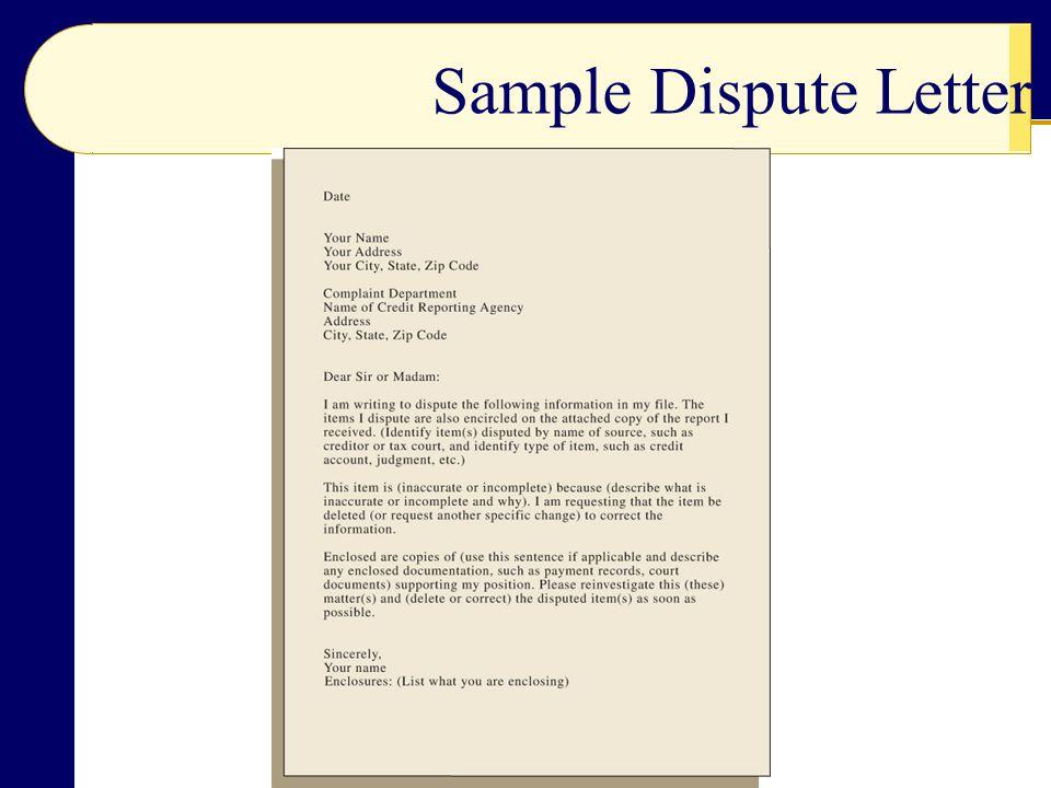 Sample Dispute Letter