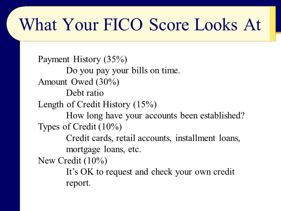 What Your FICO Score Looks At Payment History (35%) Do you pay your bills on time.