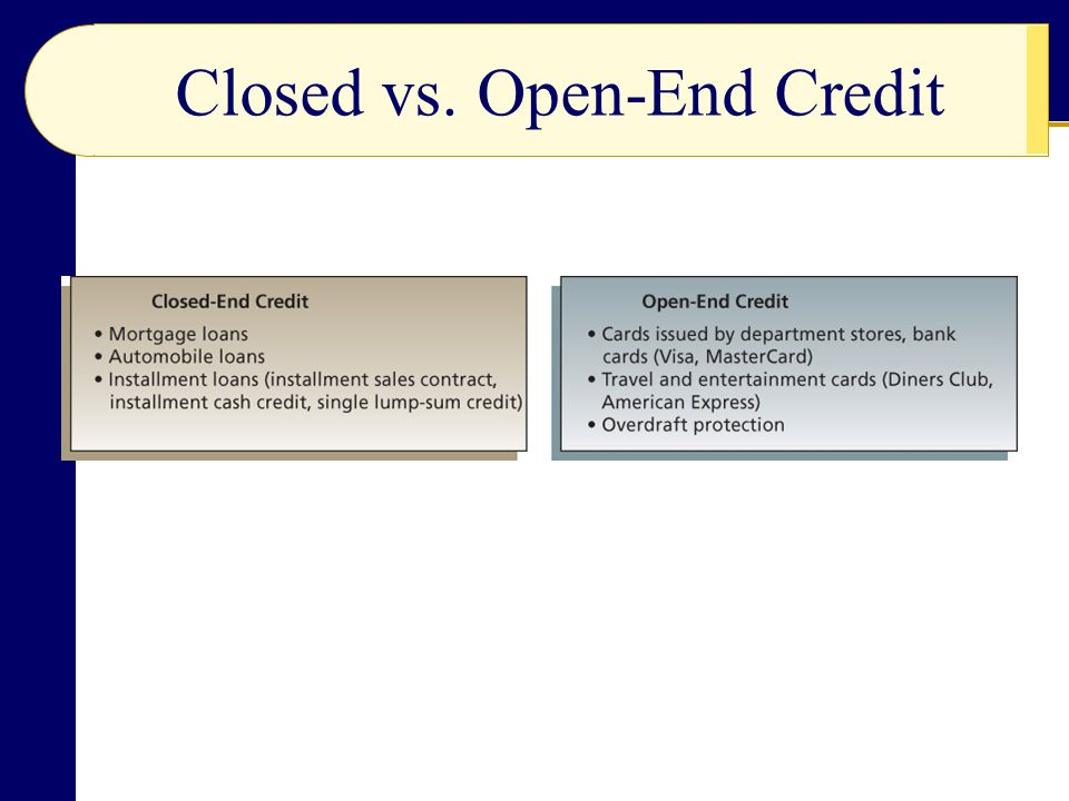 Closed vs. Open-End Credit