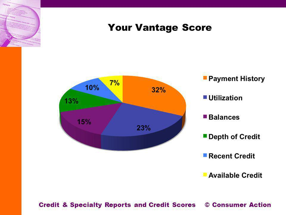 Your Vantage Score Credit & Specialty Reports and Credit Scores © Consumer Action