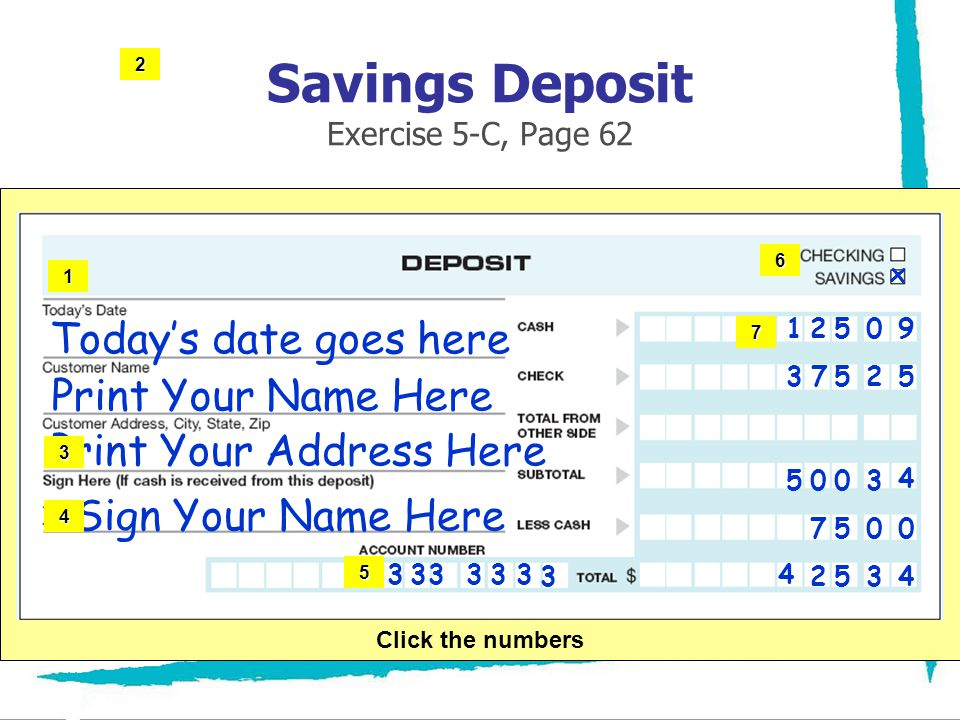 Savings Deposit Exercise 5-C, Page 62 Todays date goes here Print Your Name Here Print Your Address Here Sign Your Name Here 333333 3 x 12509 37525 75
