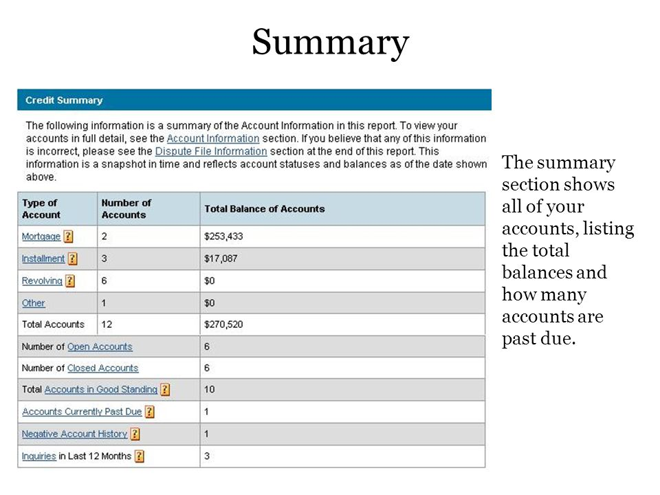 Summary The summary section shows all of your accounts, listing the total balances and how many accounts are past due.