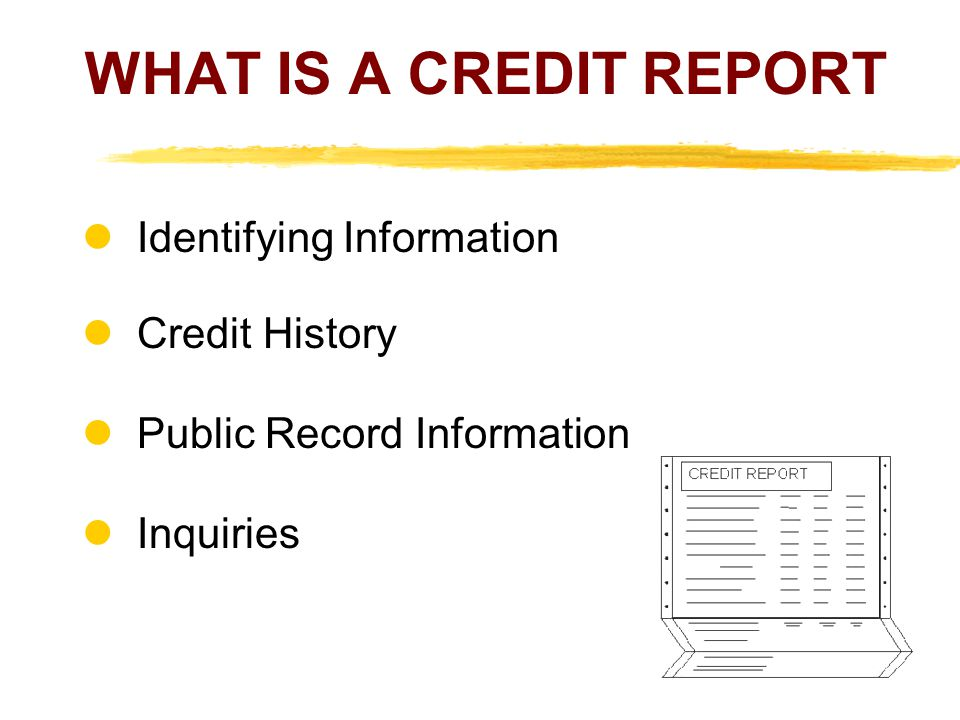 Credit History The next section shows your credit history including accounts creditors have turned over to a collection agency.