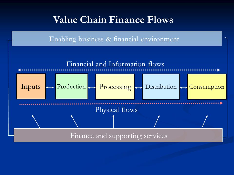 Processing Financial and Information flows Physical flows Inputs Enabling business & financial environment Production Distribution Finance and support
