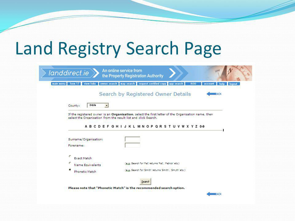 Land Registry Search Page
