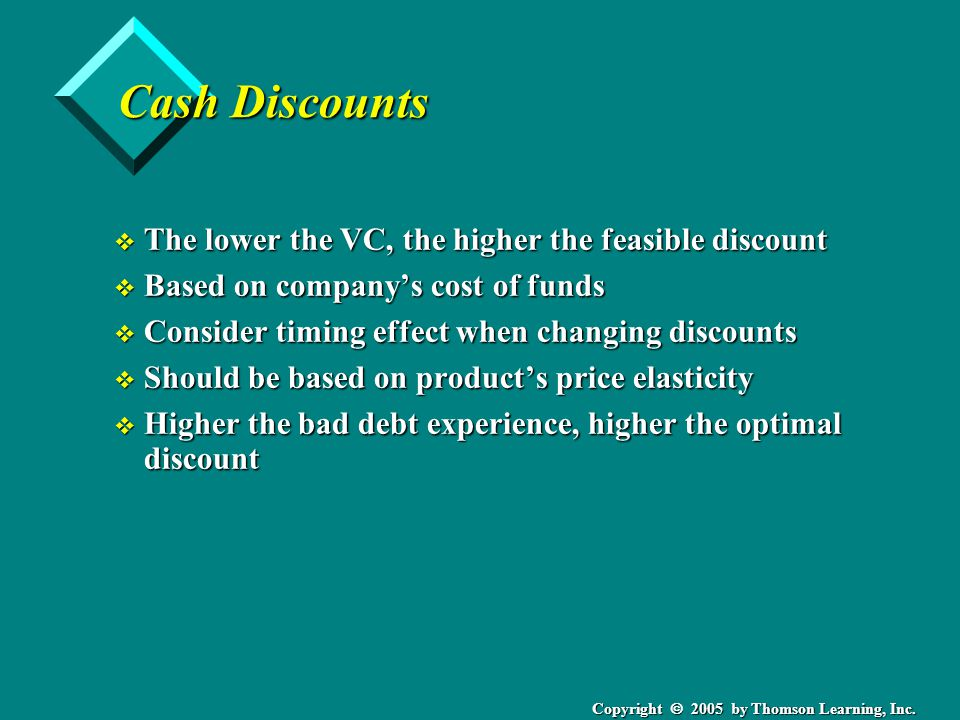 Copyright 2005 by Thomson Learning, Inc. Cash Discounts v The lower the VC, the higher the feasible discount v Based on companys cost of funds v Consi