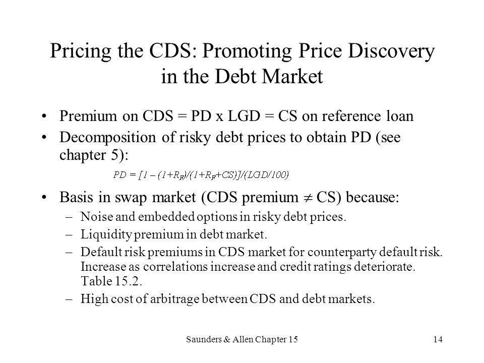 Saunders & Allen Chapter 1514 Pricing the CDS: Promoting Price Discovery in the Debt Market Premium on CDS = PD x LGD = CS on reference loan Decomposi