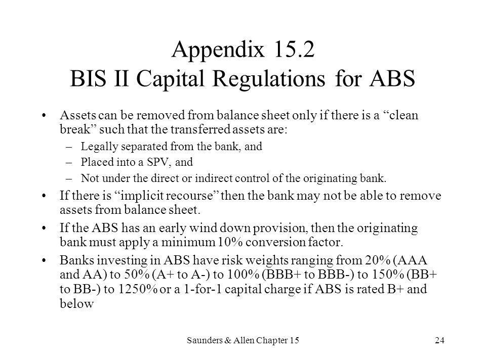 Saunders & Allen Chapter 1524 Appendix 15.2 BIS II Capital Regulations for ABS Assets can be removed from balance sheet only if there is a clean break