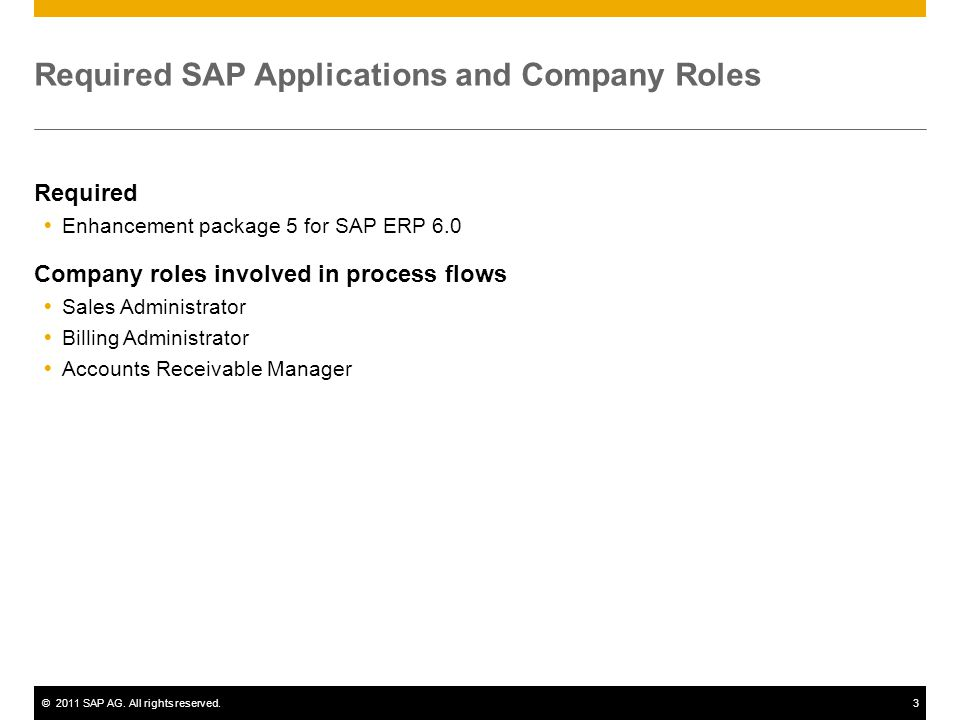©2011 SAP AG. All rights reserved.3 Required SAP Applications and Company Roles Required Enhancement package 5 for SAP ERP 6.0 Company roles involved