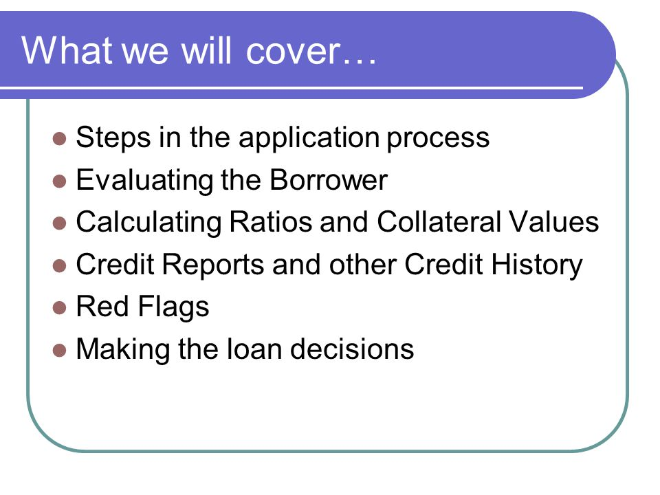 What we will cover… Steps in the application process Evaluating the Borrower Calculating Ratios and Collateral Values Credit Reports and other Credit