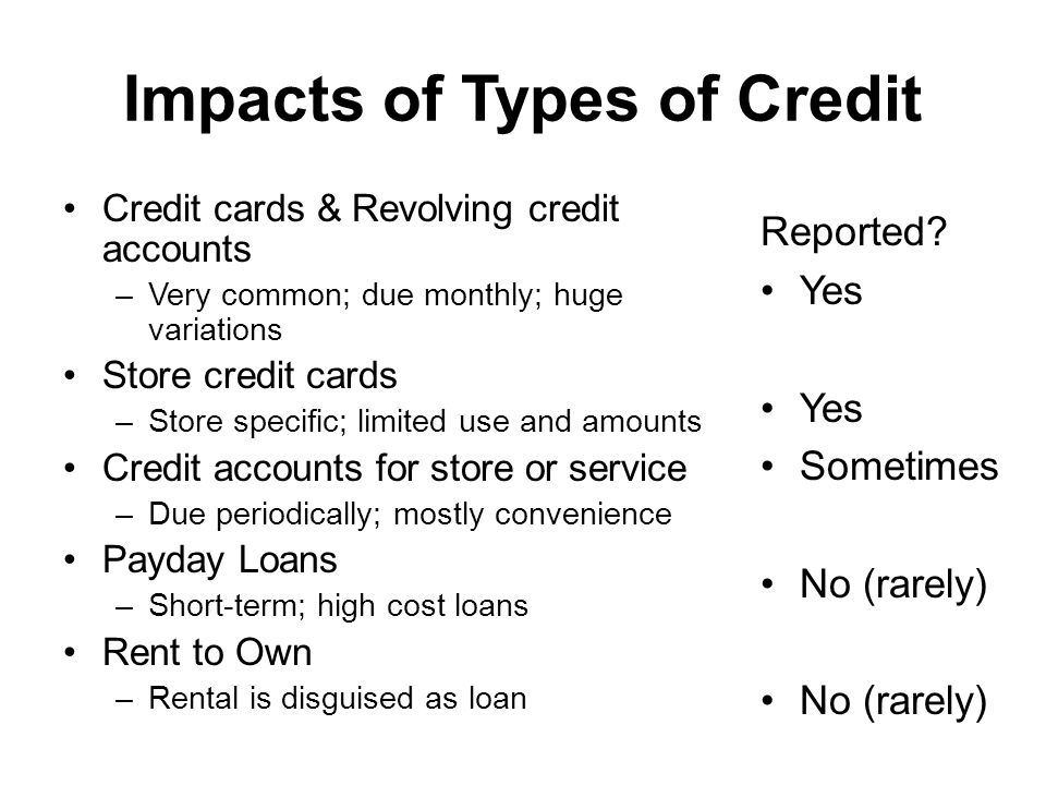 Impacts of Types of Credit Credit cards & Revolving credit accounts –Very common; due monthly; huge variations Store credit cards –Store specific; limited use and amounts Credit accounts for store or service –Due periodically; mostly convenience Payday Loans –Short-term; high cost loans Rent to Own –Rental is disguised as loan Reported.