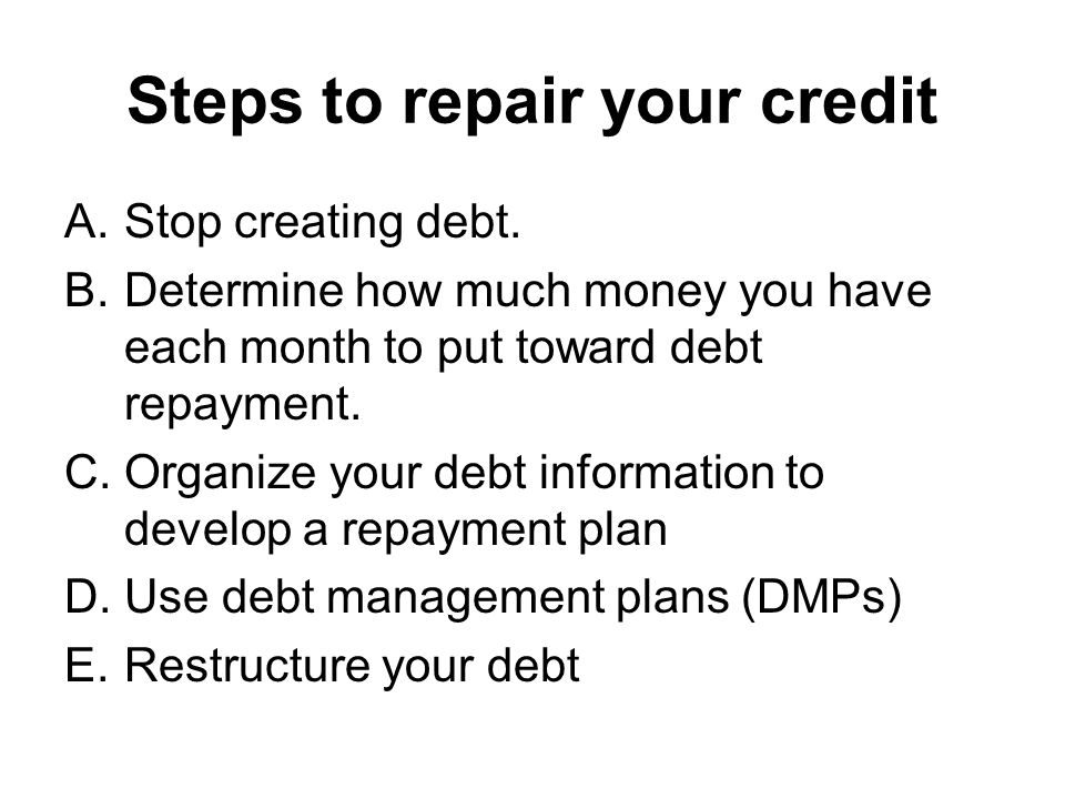 Steps to repair your credit A.Stop creating debt.