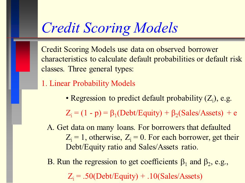 Credit Scoring Models Credit Scoring Models use data on observed borrower characteristics to calculate default probabilities or default risk classes.