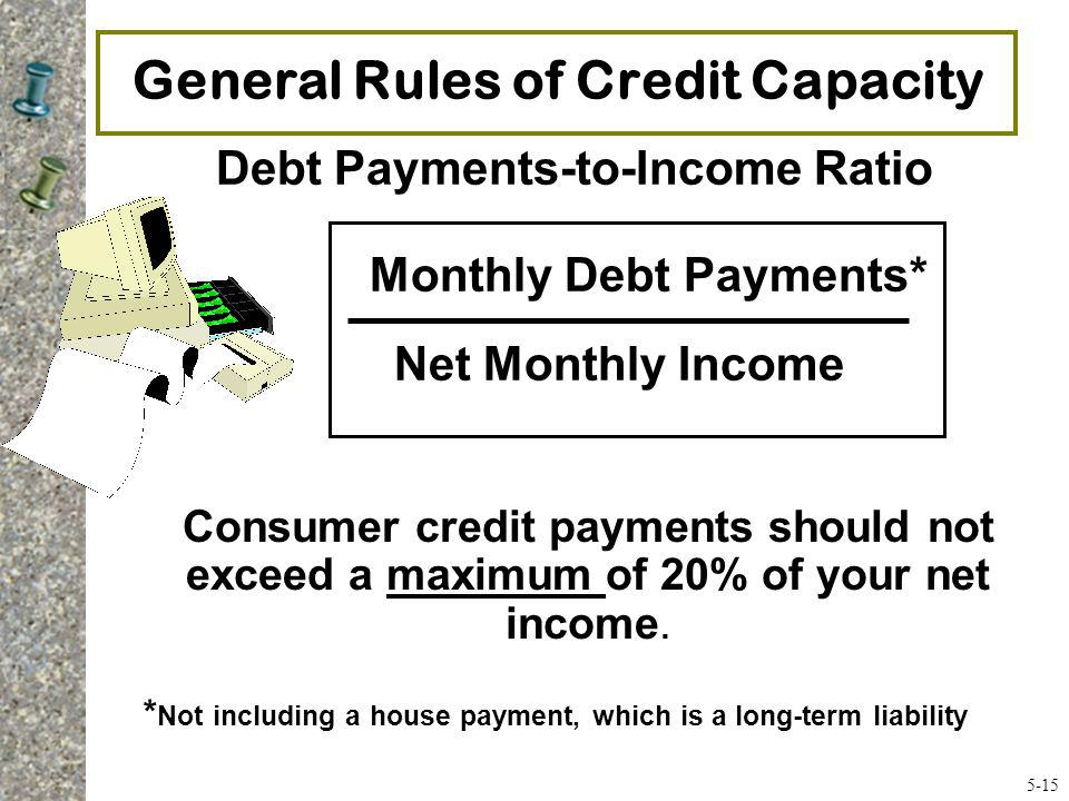General Rules of Credit Capacity * Not including a house payment, which is a long-term liability Debt Payments-to-Income Ratio Monthly Debt Payments*