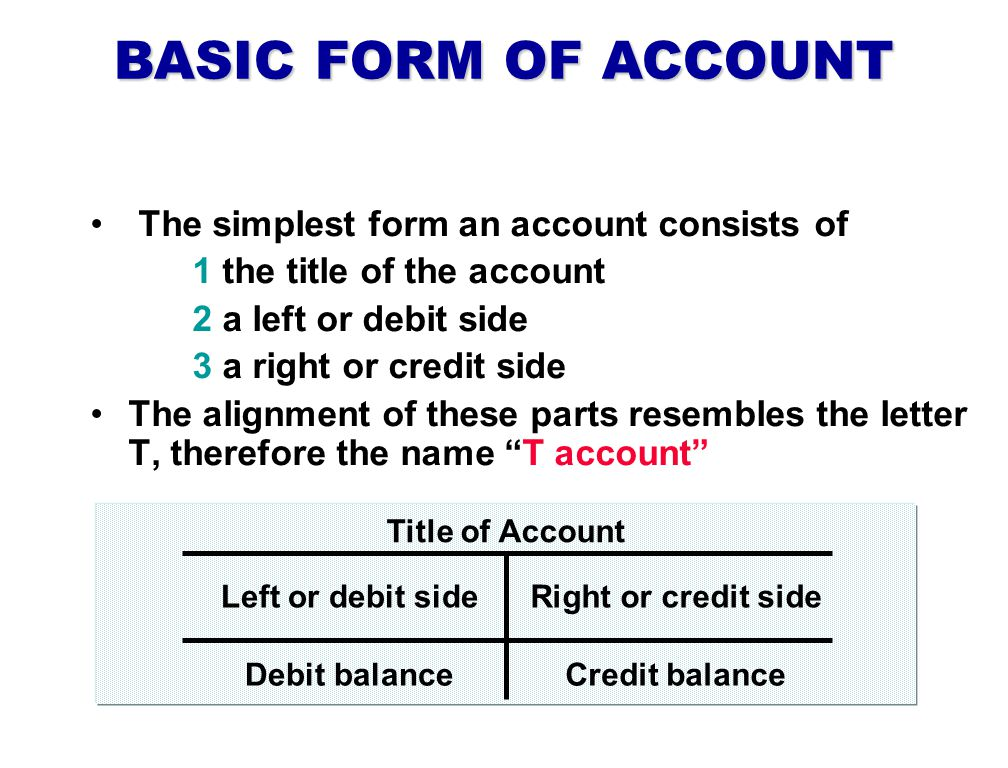 BASIC FORM OF ACCOUNT The simplest form an account consists of 1 the title of the account 2 a left or debit side 3 a right or credit side The alignment of these parts resembles the letter T, therefore the name T account Left or debit side Title of Account Right or credit side Debit balanceCredit balance