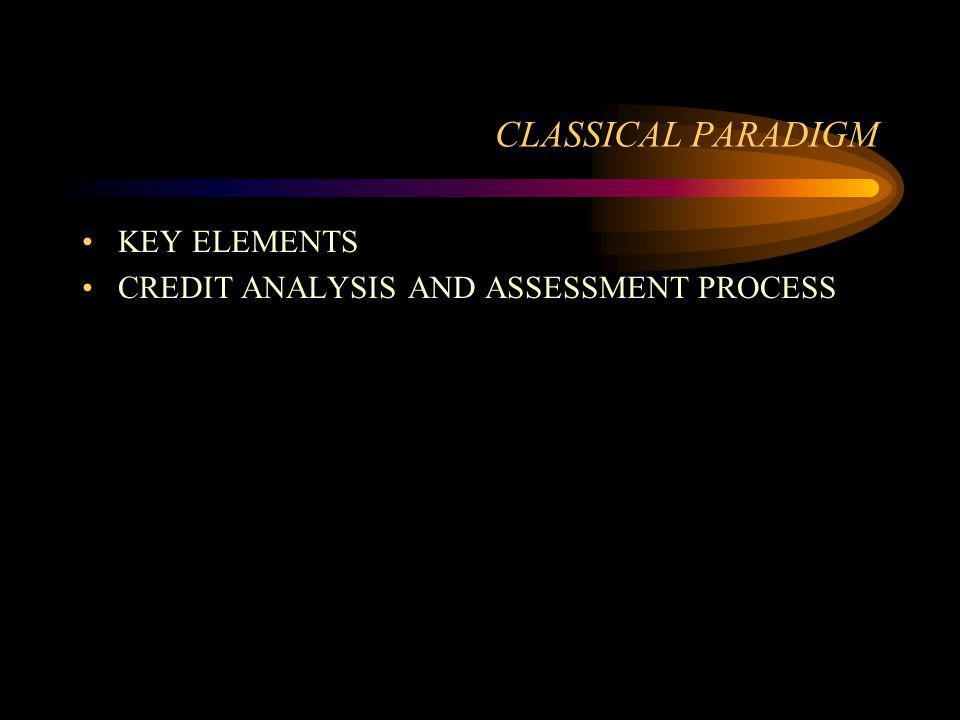 CLASSICAL PARADIGM KEY ELEMENTS CREDIT ANALYSIS AND ASSESSMENT PROCESS