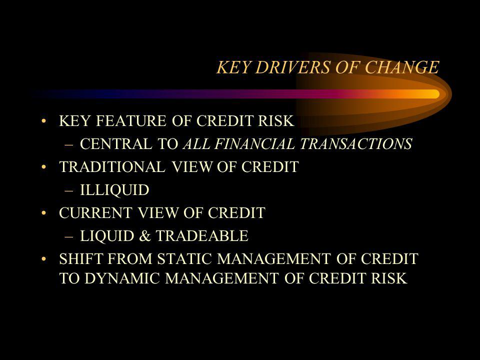 KEY DRIVERS OF CHANGE KEY FEATURE OF CREDIT RISK –CENTRAL TO ALL FINANCIAL TRANSACTIONS TRADITIONAL VIEW OF CREDIT –ILLIQUID CURRENT VIEW OF CREDIT –L