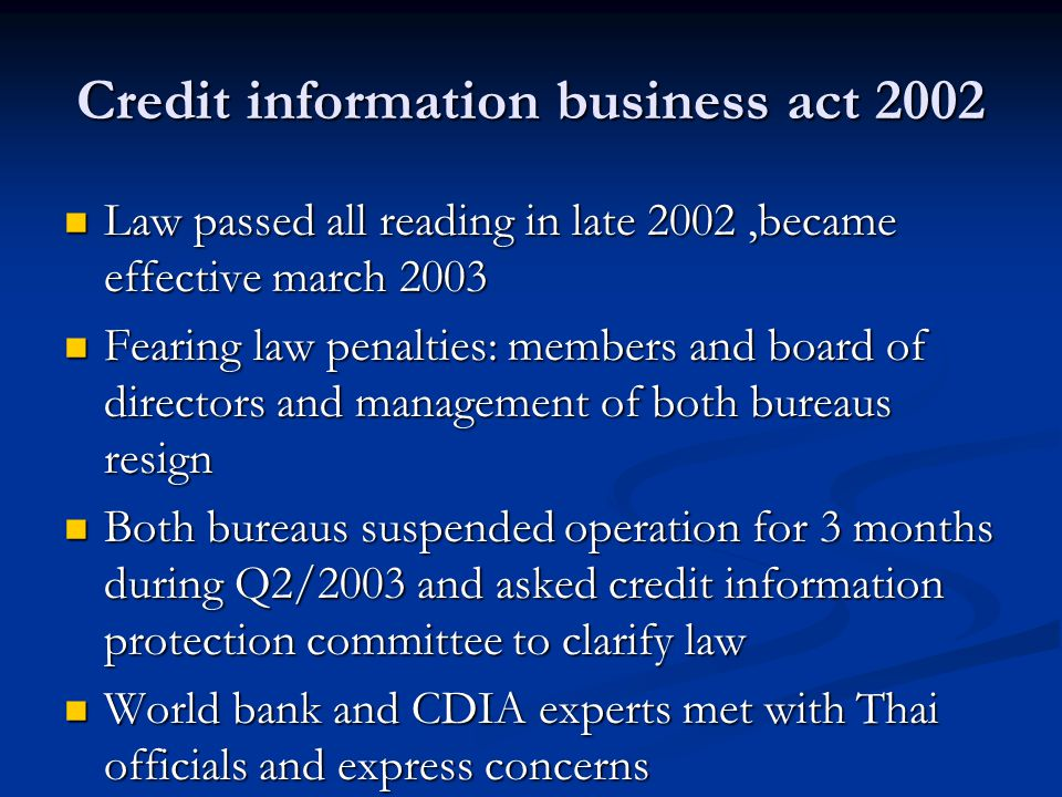 Credit information business act 2002 Law passed all reading in late 2002,became effective march 2003 Law passed all reading in late 2002,became effect