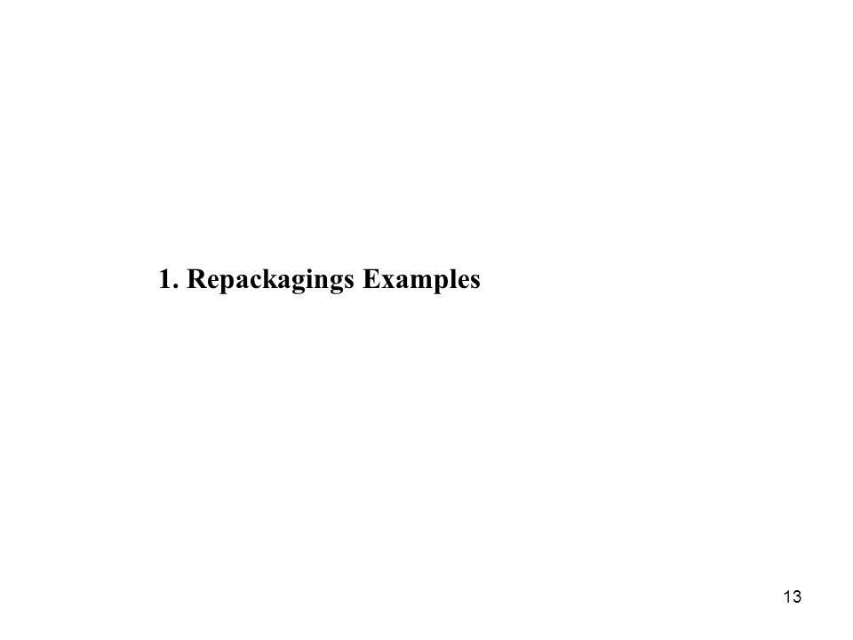 13 1. Repackagings Examples
