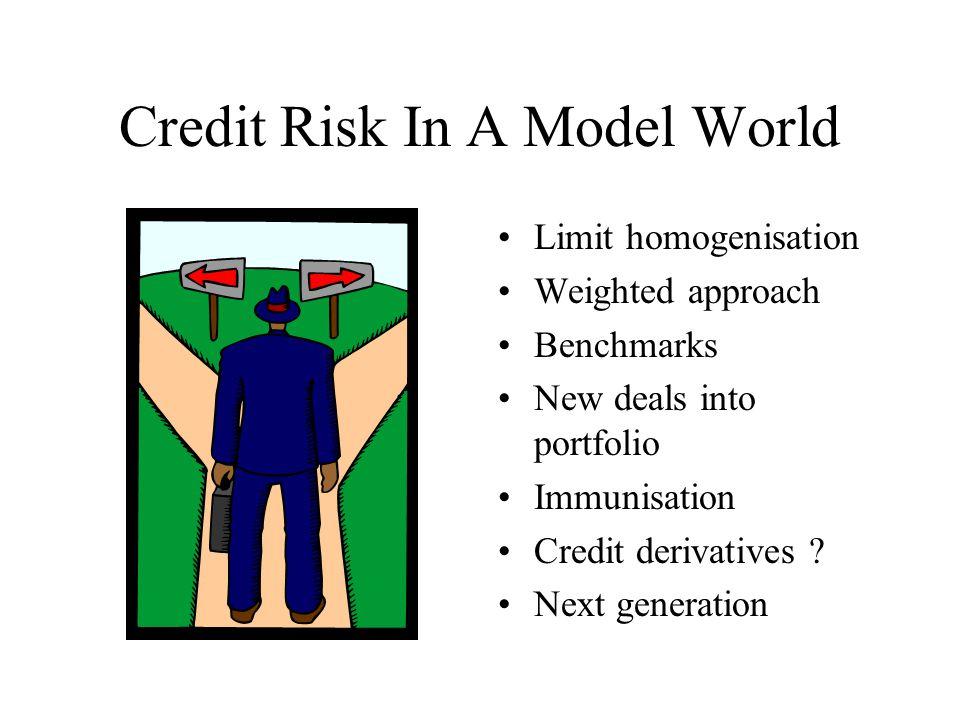 Credit Risk In A Model World Limit homogenisation Weighted approach Benchmarks New deals into portfolio Immunisation Credit derivatives ? Next generat