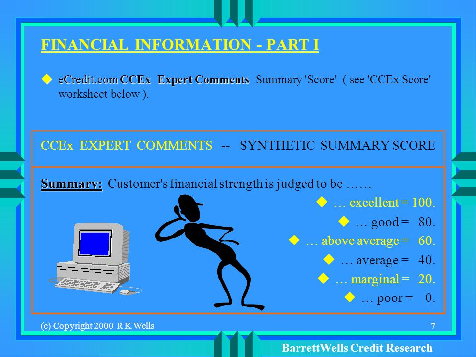 BarrettWells Credit Research (c) Copyright 2000 R K Wells7 FINANCIAL INFORMATION - PART I eCredit.comCCEx Expert Comments eCredit.com CCEx Expert Comments Summary Score ( see CCEx Score worksheet below ).