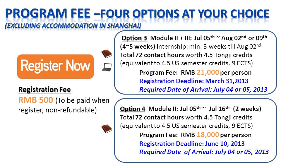 Registration Fee RMB 500 (To be paid when register, non-refundable) Option 3 Option 3 Module II + III: Jul 05 th ~ Aug 02 nd or 09 th (4~5 weeks) Internship: min.