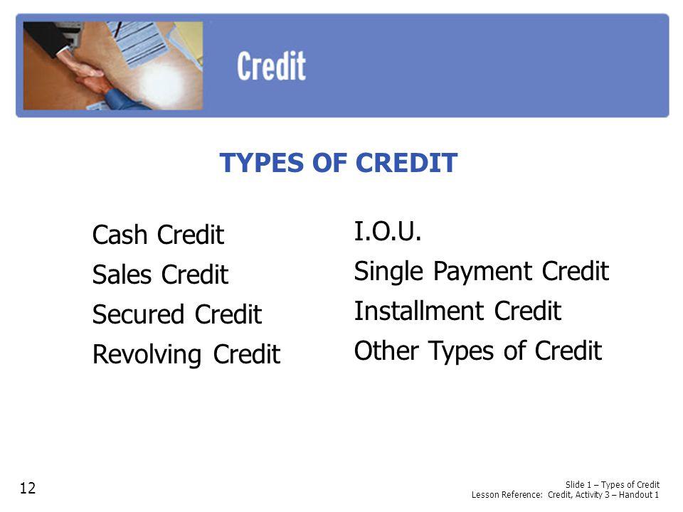 Slide 1 – Types of Credit Lesson Reference: Credit, Activity 3 – Handout 1 TYPES OF CREDIT Cash Credit Sales Credit Secured Credit Revolving Credit 12