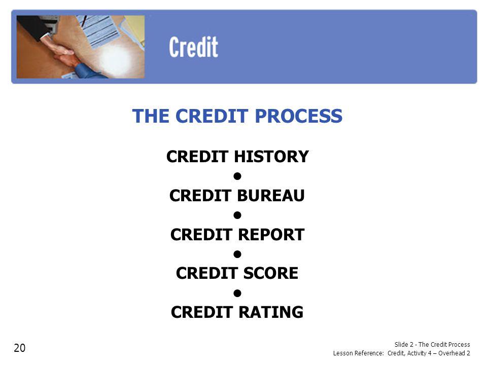 Slide 2 - The Credit Process Lesson Reference: Credit, Activity 4 – Overhead 2 THE CREDIT PROCESS CREDIT HISTORY CREDIT BUREAU CREDIT REPORT CREDIT SC