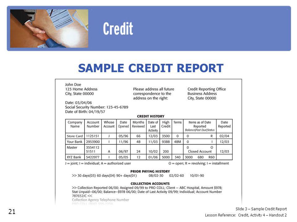 SAMPLE CREDIT REPORT 21 Slide 3 – Sample Credit Report Lesson Reference: Credit, Activity 4 – Handout 2
