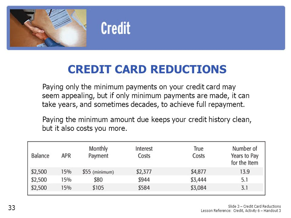 Slide 3 – Credit Card Reductions Lesson Reference: Credit, Activity 6 – Handout 3 CREDIT CARD REDUCTIONS Paying only the minimum payments on your cred
