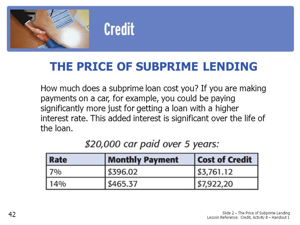 THE PRICE OF SUBPRIME LENDING How much does a subprime loan cost you? If you are making payments on a car, for example, you could be paying significan