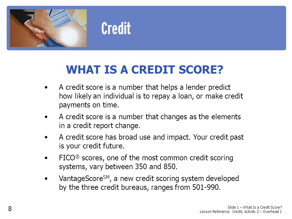 WHAT IS A CREDIT SCORE? A credit score is a number that helps a lender predict how likely an individual is to repay a loan, or make credit payments on