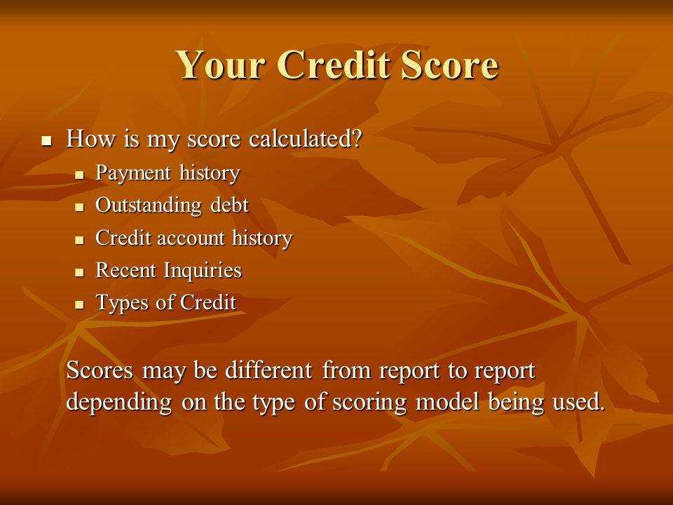 Your Credit Score How is my score calculated. How is my score calculated.