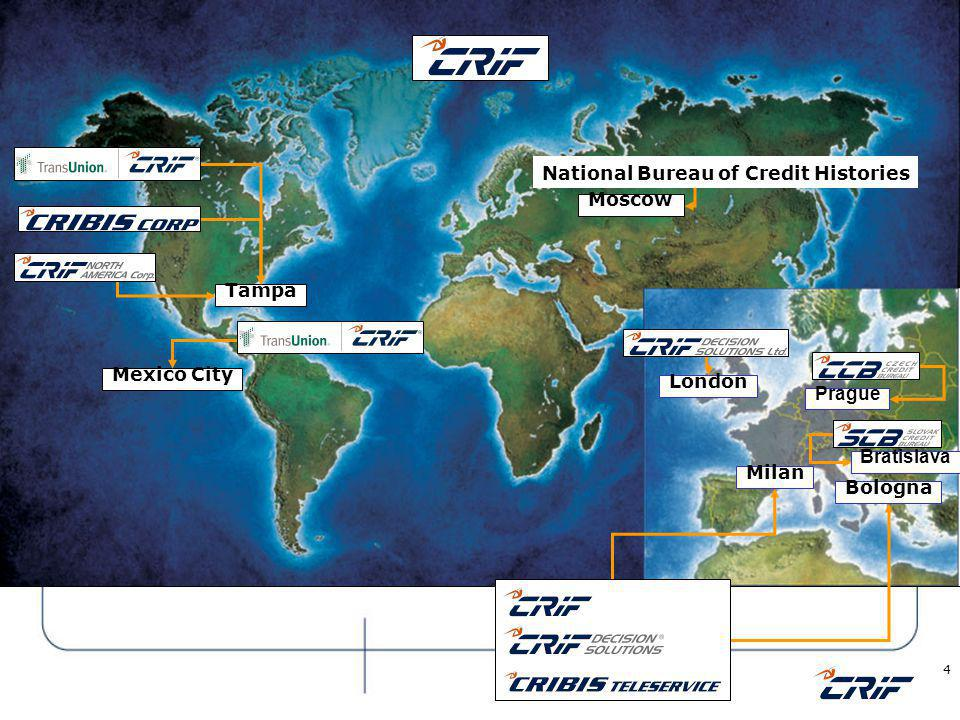 © 2006 CRIF 5 Bureaux – CRIF worldwide market place Different types of our Bureaux involvement Credit Bureau: in the emerging markets it is strategic to support and speed up the economy growth; Insurance Bureau: essential in mature markets to streamline operations and strengthen fraud detection; B2B Bureau: essential in mature markets as a strong companies support for completing public information and for the early detection of payment delay.