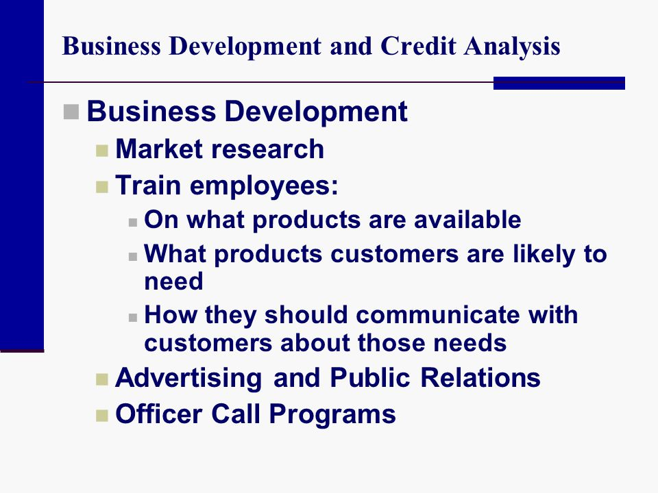 Business Development and Credit Analysis Business Development Market research Train employees: On what products are available What products customers