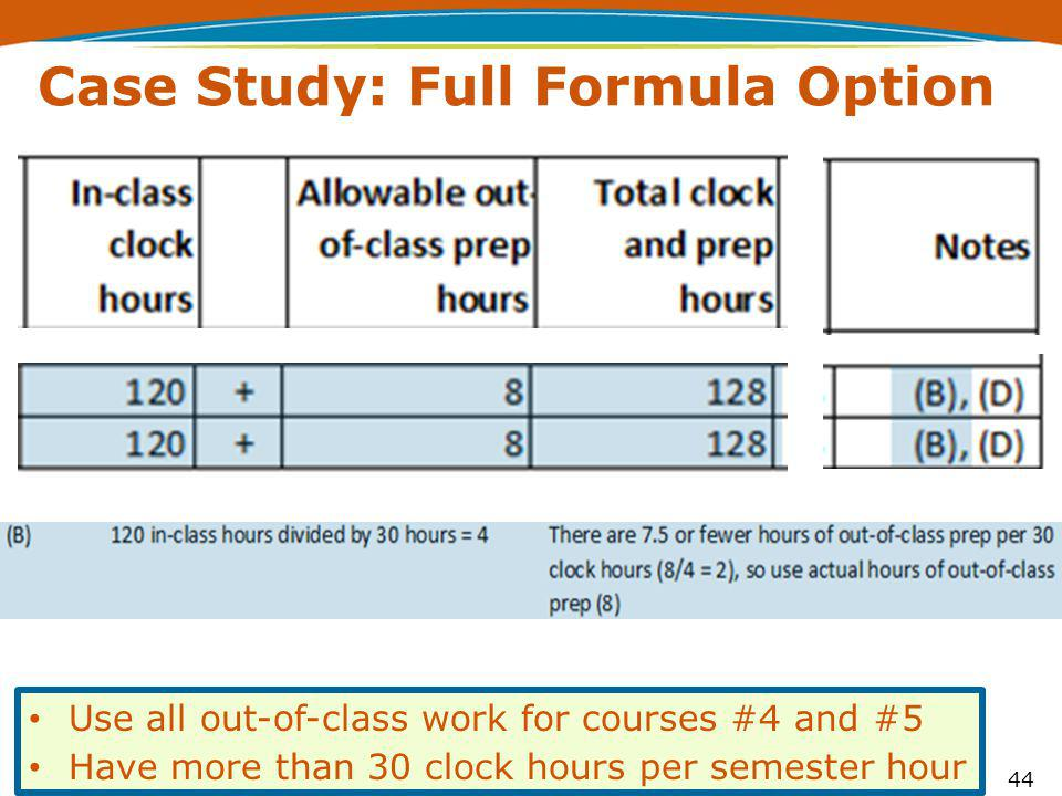 44 Case Study: Full Formula Option Use all out-of-class work for courses #4 and #5 Have more than 30 clock hours per semester hour