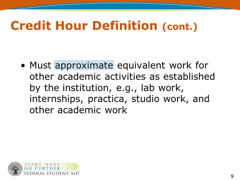 Must approximate equivalent work for other academic activities as established by the institution, e.g., lab work, internships, practica, studio work, and other academic work 9 9