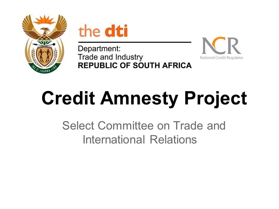 Credit Amnesty Project Select Committee on Trade and International Relations