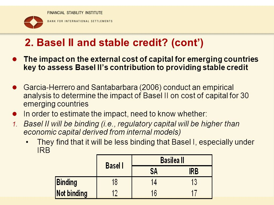 2. Basel II and stable credit.