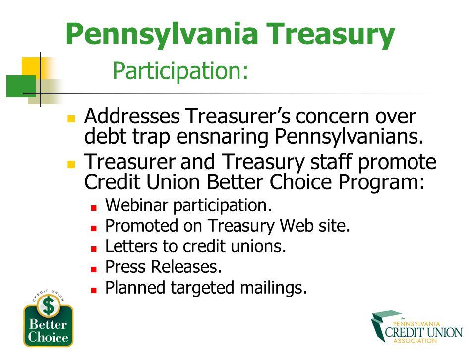 Pennsylvania Treasury Participation: Addresses Treasurers concern over debt trap ensnaring Pennsylvanians.