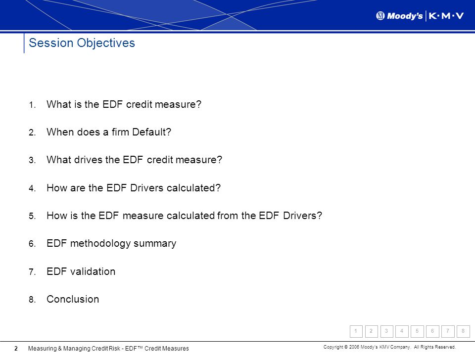 Measuring & Managing Credit Risk - EDF Credit Measures Copyright © 2006 Moodys KMV Company. All Rights Reserved. 2 Session Objectives 1. What is the E