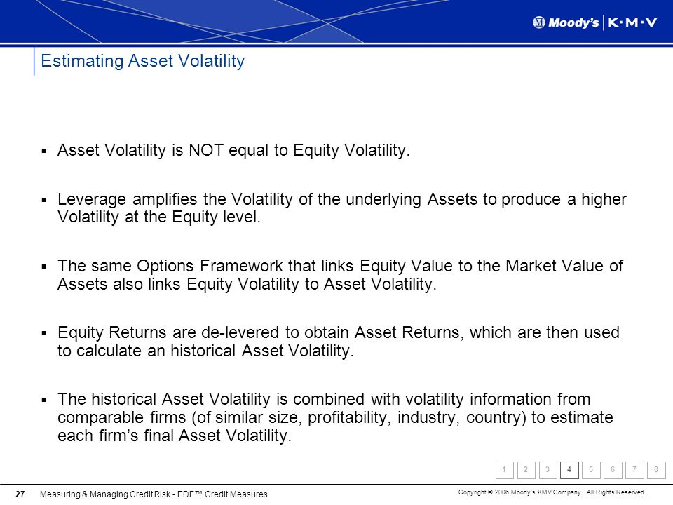 Measuring & Managing Credit Risk - EDF Credit Measures Copyright © 2006 Moodys KMV Company. All Rights Reserved. 27 Estimating Asset Volatility Asset