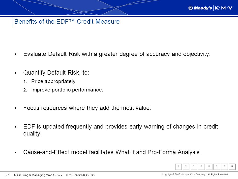 Measuring & Managing Credit Risk - EDF Credit Measures Copyright © 2006 Moodys KMV Company. All Rights Reserved. 57 Benefits of the EDF Credit Measure