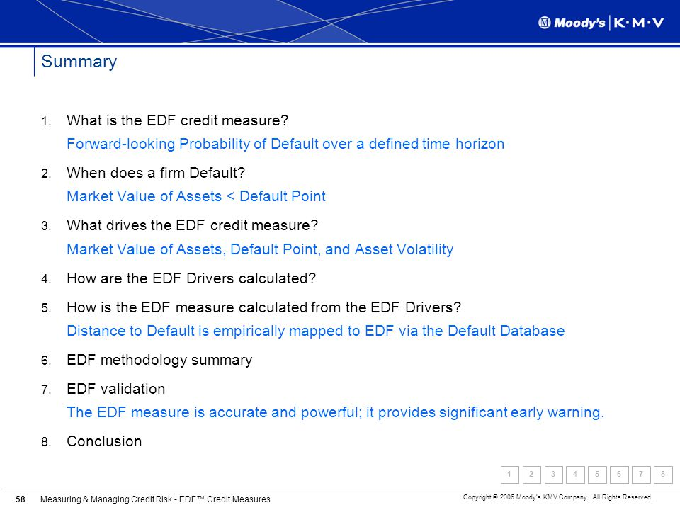 Measuring & Managing Credit Risk - EDF Credit Measures Copyright © 2006 Moodys KMV Company. All Rights Reserved. 58 Summary 1. What is the EDF credit