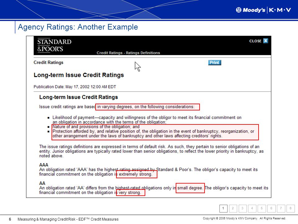 Measuring & Managing Credit Risk - EDF Credit Measures Copyright © 2006 Moodys KMV Company. All Rights Reserved. 6 Agency Ratings: Another Example 123
