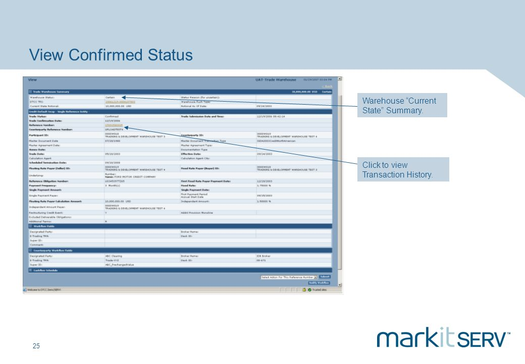 25 View Confirmed Status Click to view Transaction History. Warehouse Current State Summary.