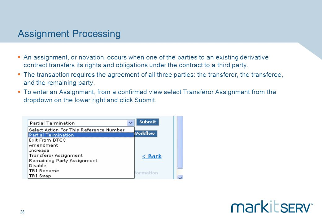 28 Assignment Processing An assignment, or novation, occurs when one of the parties to an existing derivative contract transfers its rights and obliga