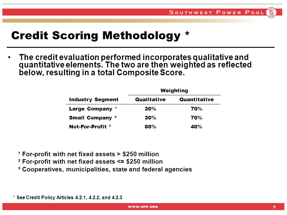 www.spp.org The credit evaluation performed incorporates qualitative and quantitative elements. The two are then weighted as reflected below, resultin